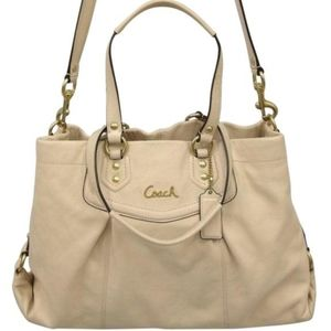 Coach Ashley Tote Bag Cream Leather USED